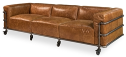 couch sofa brown leather iron casters 3-section metal frame transitional