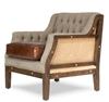 Sarreid, Ltd. chair wood frame stone washed taupe linen diamond tufting brown leather seat cushion tacks burlap back
