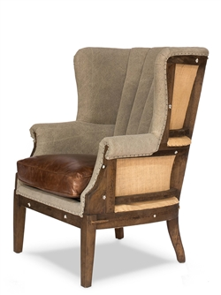 Sarreid, Ltd. chair wingback diamond tufting back brown leather seat cushion wood frame burlap inserts turned front legs casters
