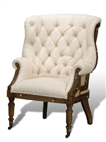 Sarreid, Ltd. chair wingback diamond tufting back white linen nail tacks wood frame burlap inserts tuned front legs casters