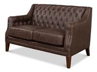 Sofa - Brown Tufted Leather - 2 Seat - Brooks