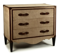 chest commode 3-drawers canvas tan leather wood four legs