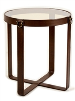 side accent table glass leather brass transitional