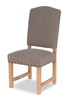 wood frame dining side chair light gray seat arched back nail heads