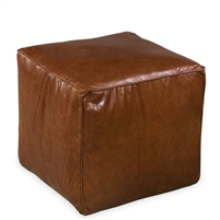 brown leather cube footrest ottoman square