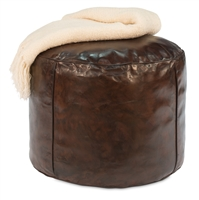 ottoman stool round brown leather