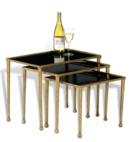 set 3 nesting tables gold iron frame ball feet black glass