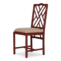 hand carved birch bamboo red dining chair