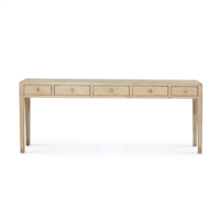 console table distressed ivory pine 5 drawers