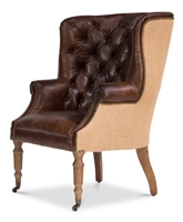 brown leather wing back chair tufted natural jute back casters