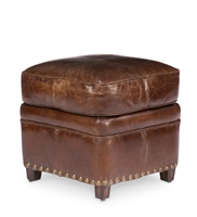 footstool ottoman square four feet nail heads leather distressed brown cube