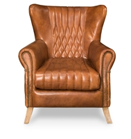 brown cognac tufted leather diamond stitching wing chair