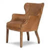 brown leather sitting chair sloped leg