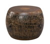 round drum side table mottled black brown crackled leather