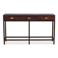 wood iron brass leather brown console