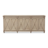 console table wood dark beige distressed arrow doors removable shelves