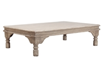 coffee table wood pine gray wash distressed turned legs large rectangle Sarreid Ltd.
