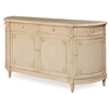 buffet sideboard 4-door 4-drawer wood carving round corners four feet gray finish