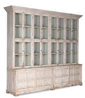 pine antique white glass cabinet with shelves
