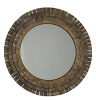 Sarreid, Ltd. mirror circular round four rows chips segments brass plate antiqued gold oversized large