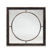 walnut panel mirror square circle