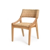 natural woven rattan dining arm chair wood contemporary coastal