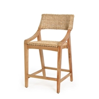 natural rattan woven counter stool wood frame contemporary
