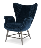 chair wing velvet navy blue quilted cushion pin legs metal silver