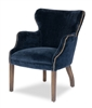 upholstered accent chair navy blue velvet wingback wood legs