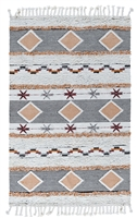 multi-colored diamond pattern tasseled ends area rug