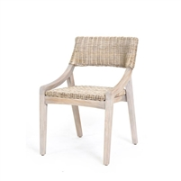 stone gray rattan woven dining side chair wood frame contemporary