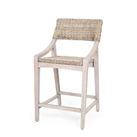 natural stone rattan woven counter stool wood frame contemporary