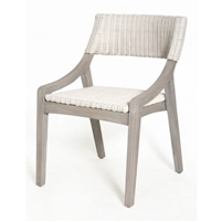 white woven rattan dining side chair gray wood contemporary coastal
