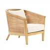 club chair natural woven rattan wood frame cream cushions