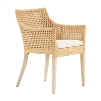 rattan cane back dining arm chair