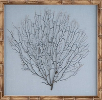 framed wall art natural bamboo sea fan ocean linen light blue