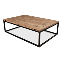 coffee table rectangle large reclaimed wood plank natural finish black iron