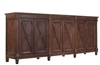 cabinet storage 6-door x-design removable shelves pine dark finish 8 legs