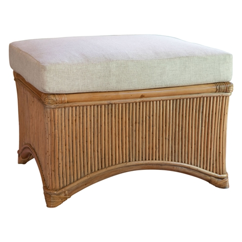buff-colored rattan ottoman cream cushions