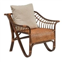 ginger-colored rattan arm chair