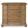 chest cabinet 4-drawer wood four round feet carved pine recycled rustic distressed