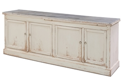 buffet sideboard pine wood white distressed marble top 4 shelves removable
