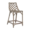 counter chair matte gray woven curved back