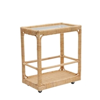 cocktail bar cart natural woven rattan wheels