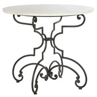white marble iron table round
