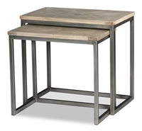 rectangle 2 nesting tables driftwood finish recycled wood iron frame gunmetal