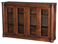 walnut finish book cabinet glass doors removable shelves