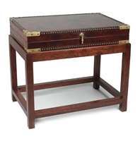 table rectangle wood base dark stain box brown leather brass corners nailheads paper interior ivory