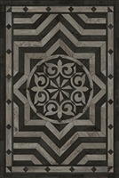 Spicher & Co. vinyl floorcloth floor mat wood inlays star pattern gray black wood