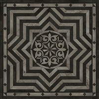 Spicher & Co. vinyl floorcloth floor mat wood inlays star pattern gray black wood square